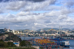 View of the sea port. Vladivostok. Stock Image