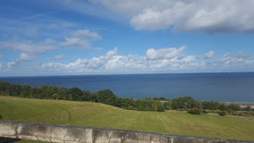 View of the sea from the quarry in llandulas Stock Photos