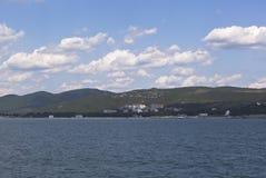 View from of the sea on resort settlement Divnomorskoe in Gelendzhik district of Krasnodar region Stock Photos