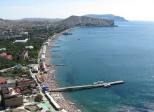 View on the sea resort Sudack. View on the coastal town in the Crimea Stock Photography