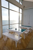 A view of the sea. Restaurant with an ocean view stock photo