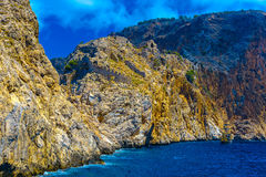 View from sea on rocks in Alanya Stock Images