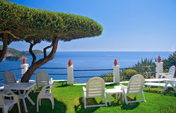 View of the sea from a room on Corfu island royalty free stock photography