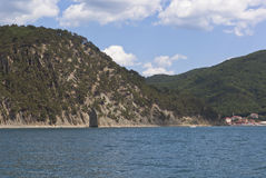 View from the sea on the Sail Rock and the village Praskoveevka in Gelendzhik Stock Photos