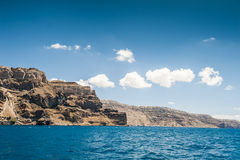 View from the sea on Santorini island Royalty Free Stock Photos