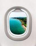 View of sea shore in Batumi from airplane window Royalty Free Stock Photo