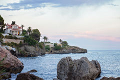View of the sea shore in French Riviera Royalty Free Stock Photos