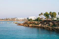 The view of sea shore of  Protaras, Cyprus Royalty Free Stock Photography