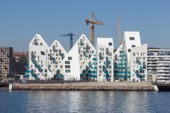 View from the sea side to the residential complex Isbjerget in Aarhus, Denmark. Aarhus, Denmark - May 20, 2016: View from the sea side to the residential Royalty Free Stock Image