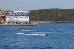 View from the sea side to the residential complex Isbjerget in Aarhus, Denmark. Aarhus, Denmark - May 20, 2016: View from the sea side to the residential Royalty Free Stock Photo
