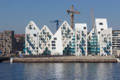 View from the sea side to the residential complex Isbjerget in Aarhus, Denmark. Aarhus, Denmark - May 20, 2016: View from the sea side to the residential Stock Photo