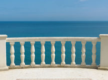 View at sea and sky. With balustrade Royalty Free Stock Photography