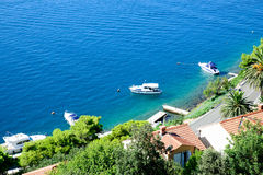 View of the sea with some boats. View of the sea in Croatia royalty free stock image