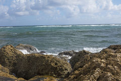View of the Sea from South Inlet Park Boca Raton Florida. Waves crashing long the seawall at South Inlet Park Boca Raton Florida Stock Images