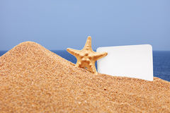 A view of a sea star and a card on a beach Royalty Free Stock Photography
