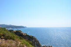 View of sea, summer holidays concept. A beautiful summer sea view from the cliff Stock Photo