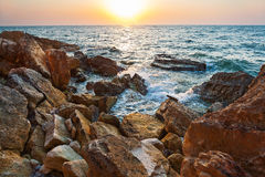 View on sea at sunset Royalty Free Stock Photos