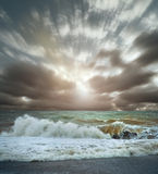 View of Sea surf landscape. View of Sea surf stormy landscape with cloudy sky royalty free stock images