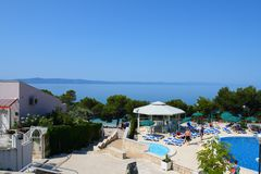 View on sea and swimming pool Stock Photography