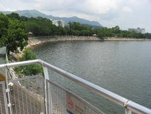 View of the sea from Tai Po waterfront park, Hong Kong stock images