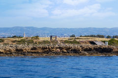 View from the sea to Archaeological park Stock Image
