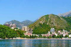 View from sea to Budva coast and resort town of Becici, Montenegro Stock Photography