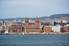 view from the sea to the city hall of oslo Stock Photography