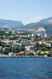 View from the sea to the city of Herceg Novi Royalty Free Stock Photos
