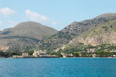 View from the sea to the city and the mountains. royalty free stock photography