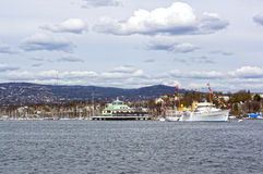View from the sea to a cruise ship, Oslo and the Oslo Fjord Stock Photography