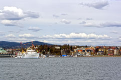 View from the sea to a cruise ship, Oslo and the Oslo Fjord Royalty Free Stock Images