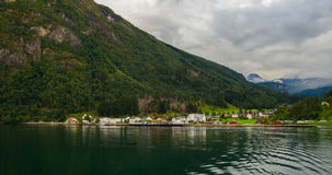 View from the sea to Eidsdal Royalty Free Stock Photography