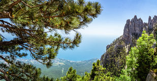 View from the sea to the grotto of Chaliapin, Crimea, Sudak Stock Photos