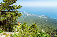 View from the sea to the grotto of Chaliapin, Crimea, Sudak Royalty Free Stock Image