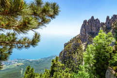 View from the sea to the grotto of Chaliapin, Crimea, Sudak Stock Image
