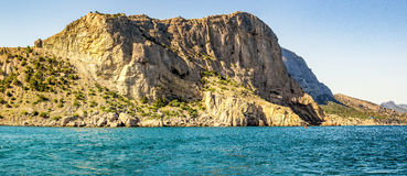 View from the sea to the grotto of Chaliapin, Crimea, Sudak Royalty Free Stock Images