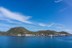 View from sea to Honningsvag Stock Photo
