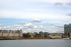 View from the sea to Oslo and the Oslo Fjord. Norway. May 08, 2013 Royalty Free Stock Images