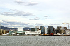 View from the sea to Oslo and the Oslo Fjord. Norway. May 08, 2013 Royalty Free Stock Photography