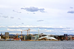 View from the sea to Oslo and the Oslo Fjord. Norway. May 08, 2013 Stock Image