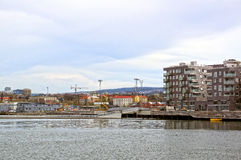 View from the sea to Oslo and the Oslo Fjord. Norway. May 08, 2013 Stock Photo
