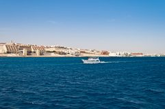 The view from the sea to the shore of Hurghada Stock Images