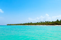 View from the sea on a tropical beach and the island Royalty Free Stock Photography