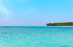 View from the sea on a tropical beach and the island Stock Images