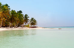 View from the sea on a tropical beach and the island Royalty Free Stock Photos