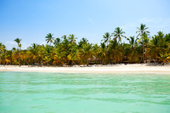 View from the sea on a tropical beach and the island Royalty Free Stock Photo