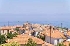 View of the sea from the village of Manolates Stock Photos