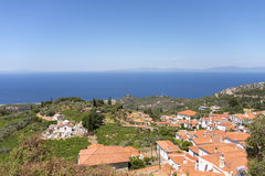 View of the sea from the village of Vourliotes Stock Images