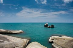 View of sea waves and rocks on the beach at KOH SAMUI, THAILAND Royalty Free Stock Image