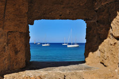 View of the sea through the window, Rhodes Stock Photography